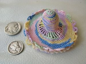 Antique Handmade Crochet Variegated Pink Blue Hat Thimble Flannel Needle Holder