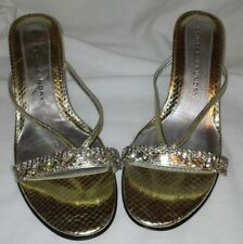 CHINESE LAUNDRY GOLD AND RHINESTONE OPEN TOE  SIZE 6.5 M