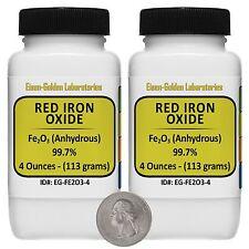 Red Iron Oxide Fe2o3 997 Acs Grade Powder 8 Oz In Two Easy Pour Bottles Usa