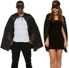 Adult Mens Ladies Unisex Superhero Fancy Dress Kit Cape & Mask Black Cloak New H