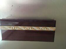 "Lady's Tri-Gold woven wide designer bracelet, 8"", Double Clasp..approx 25 grams."