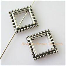 6Pcs Antiqued Silver Tone Square Circle Spacer Beads Frame Charms 13mm