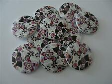 10 LARGE ROUND PINK GREY BLACK FLOWER WOODEN PATTERNED BUTTONS 30MM FREE P&P UK