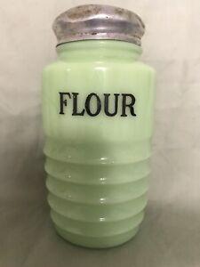 Vintage jadite flour shaker Jeanette Glass