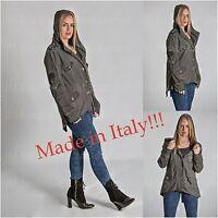 Italian Ladies women NEW Military Style LONG Jacket Coat  Plus Size 12-18