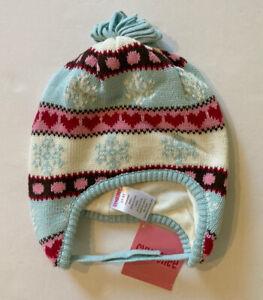 NWT Gymboree Winter Snowflake 2T-5T Light Blue Fair Isle Sweater Hat w/ Strap