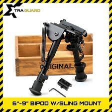 "Rifle Bipod 6""-9"" Spring Return Hunting Bipod w/ Sling Swivel Rail Mount Adapter"