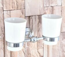 Polished Chrome Wall Mounted Toothbrush Holder with Double Ceramic Cups Zba798