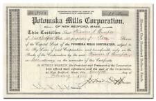 Potomska Mills Corporation Stock Certificate (New Bedford, Massachusetts)