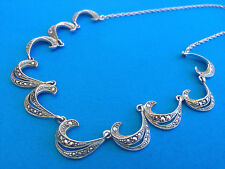 Ancien Collier Marcassites Chaine Argent Massif / Chain Necklace