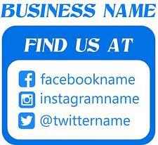 """SOCIAL MEDIA CUSTOM BUSINESS SIGN VINYL DECAL STICKER (15"""" - 15"""")"""