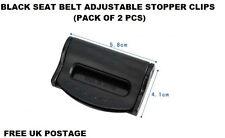 BLACK FIAT Seat Belts Safety Adjustable Stopper Buckle Plastic Clips 2PCS