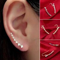 2pc Lady Charm Ear Clip Hook Cuff Stud Rhinestone Crystal Cartilage Wrap Earring