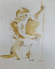 """""""Male Nude Study V"""" (Pen and Ink) by Richard Taddei 1992"""