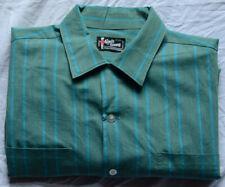 Kings Guard Men's Vintage Shirt Large 1960s Loop Collar Green/Blue Flecked Vg