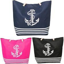 Beach Bag Womens Ladies Large Summer Shoulder Bags Anchor Tote Canvas Zip Blue