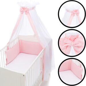 SET Betthimmel Schleier & Bettumrandung Nestchen Baby Stoß Schutz Bett Nest Kopf