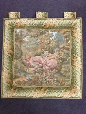 Traditional tapestry tab wallhanging & Border Panel green pink peach gold cream
