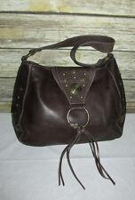 Kate Landry Brown Pebbled Leather Studded Fringe Purse Shoulder Bag Tote Hobo