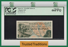 "TT PK 76 1960 INDONESIA 1 RUPIAH ""REPUBLIK INDONESIA"" PCGS 66 PPQ GEM NEW!"