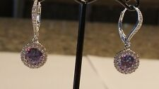 925 SILVER 1.25 CARAT 7MM CREATED TANZANITE SOLITAIRE HALO LEVERBACK EARRINGS