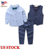 Toddler Baby Kids Boys Gentleman Suit Tops+Pants Blouse Trousers Outfit Clothes