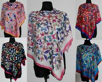 New large colourful pink red woman girl shawl scarf stole silk blend butterfly