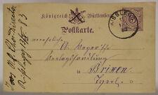 INTERO POSTALE GERMANIA/GERMANY POSTKARTE 5 PFENNIG WÜRTTEMBERG 1883 #SP378