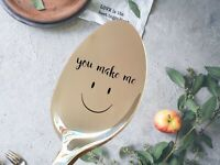 PERSONALISED Smile spoon  Smile gift Any text printing Engrave Company Name Logo