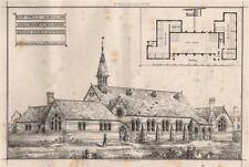 St. Pauls Schools, Stratford Essex; Henry Ough, Architect. London 1870 print