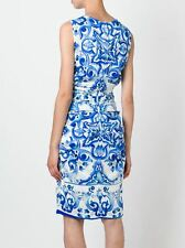 Dolce & Gabbana AUTH Maiolica Tile Print Ruched Charmeuse Dress 46 NWT Majolica