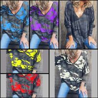 T-Shirt Womens Floral Loose Long Sleeve Pullover V Neck Casual Tops Jumper