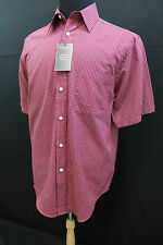 Roundtree and Yorke Men Short Sleeve Casual Shirt Plaids Dark Red Size M L New