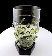 "J.E.F. GLASS NOVY BOR BERKEMEYER STYLE ART GLASS APPLIED PRUNTZ 6 1/2"" VASE"