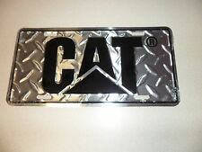 CAT Aluminum Diamond plate License plate tag w/blk logo New Caterpillar tag