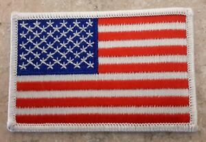 Made In USA American Flag Embroidered Patch White 3.5 x 2.25 Sew On NEW  #2