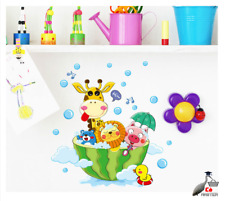 Cute Animals Bath Shower Wall Stickers Bubbles For Kids Room Home Art Decal