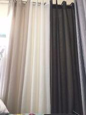 Linen Look Sheer Eyelet curtains 1 x 140 cm x 221cm Drop -BOULDER -Chocolate