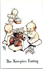 1970s Kewpie Postcard Rose O'Neill Fantasy Owl Squirrel The Kewpies Eating