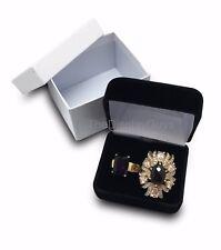 "2 3/8""x2""x1 1/2"" Black Velvet Pendant Earring Jewelry Metal Hinged Gift Box"