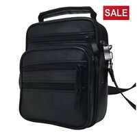 Men's Leather Messenger Bag Cross Body Shoulder Utility Travel Work Bag Black