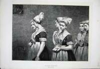 Old Antique Print 1872 Hicks Fine Art Young Women Sunday Morning Church 19th