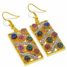 """Titanium Druzy, White Topaz Golden Silver Fashion Jewelry Earring 2.0"""" SE8666"""