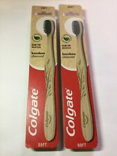 2 X Colgate Charcoal Bamboo Toothbrushes Soft New Eco - Friendly