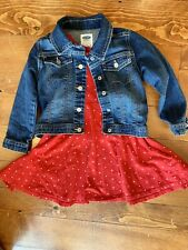 Old Navy 4T Girls Outfit, Red Dress/ Denium Jacket