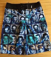 MAMBO Surf Deluxe Teen Boy Blue Scary Faces Tie Waist Board Surf Swim Shorts 14
