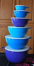 TUPPERWARE THATSA BOWL SET OF 6 BOWLS NEW BPA FREE SHIPPING BLUE AND PURPLE