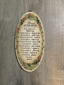 """Rules Of The House 12"""" Oval Plaque"""