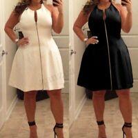 Plus Size Womens Ladies Sleeveless Zipper Open Plunge Party Evening Mini Dress