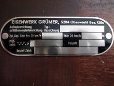 Targa Ì Eisenwerk Grümer Gancio Traino Targhetta Identificazione Segno s43